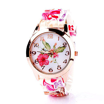 Floral Silicone Watch For Women: Watches