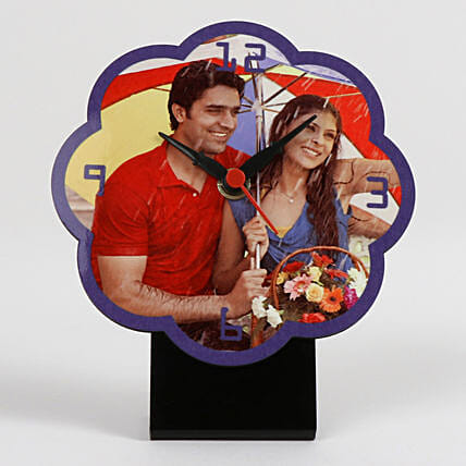 Flower Shaped Personalized Table Clock: