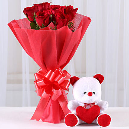 Red Roses Bouquet & Teddy Bear Combo: Soft toys for Friendship Day