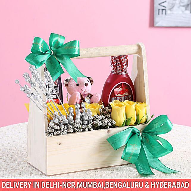 Flowery Hershey's Wooden Basket: Diwali Premium Gifts