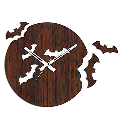 Flying Bats Brown Wall Clock: Wall-Clocks