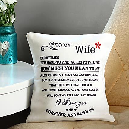 Forever & Always Printed Cushion: Send Karwa Chauth Gifts for Wife