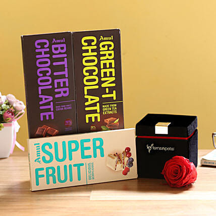 Forever Red Rose & Special Amul Chocolates: Red Flowers