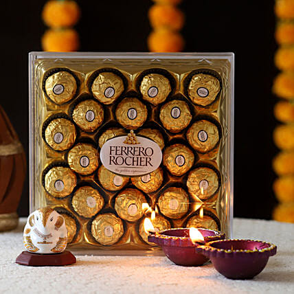 Ganesha Idol & Ferrero Rocher Treat: Diyas