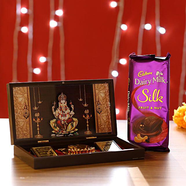 Ganesha Pooja Box & Dairy Milk Silk: Pooja Boxes