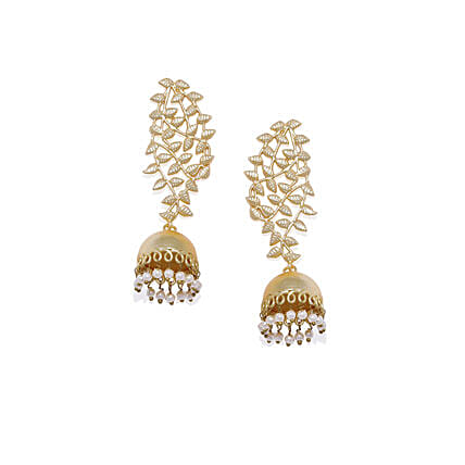 Gold Plated Leaf Dome Shaped Earrings: Send Jewellery Gifts