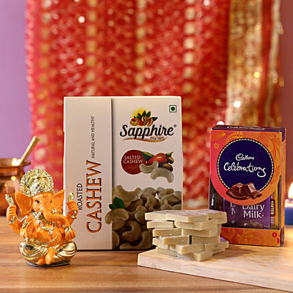 Gold Plated Lord Ganesha Celebrations Combo: Diwali Sweets & Dry Fruits