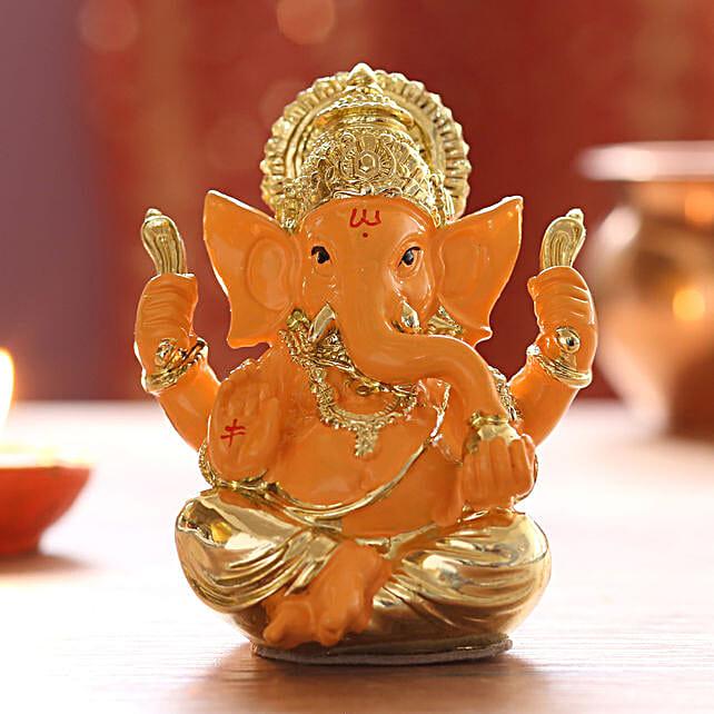 Gold Plated Orange Ganesha Idol: Laxmi Ganesha Idols for Diwali