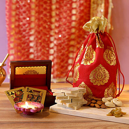 Gold Plated Playing Cards Festive Combo: Diwali Sweets & Dry Fruits