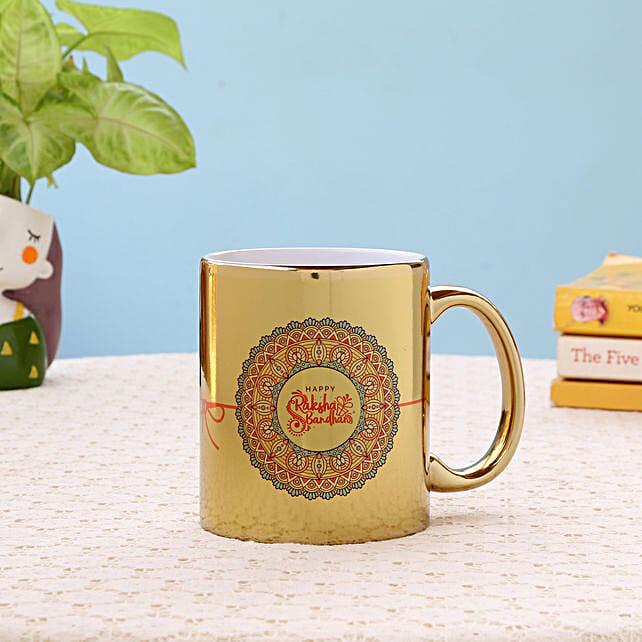 Golden Ceramic Rakhi Mug: Coffee Mugs