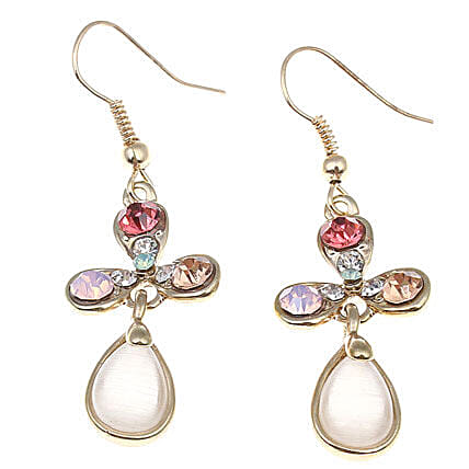 Golden Peacock Cats Eye stone Hanging Earring: Send Jewellery Gifts