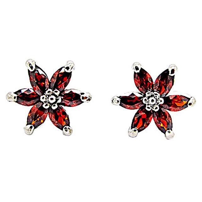 Golden Peacock Orange Earrings: Send Jewellery Gifts