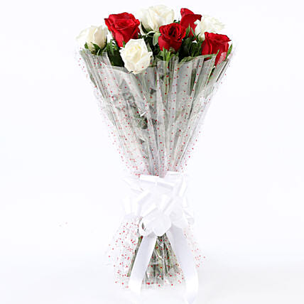 Graceful 10 White & Red Roses Bouquet: Mixed Colour Flowers