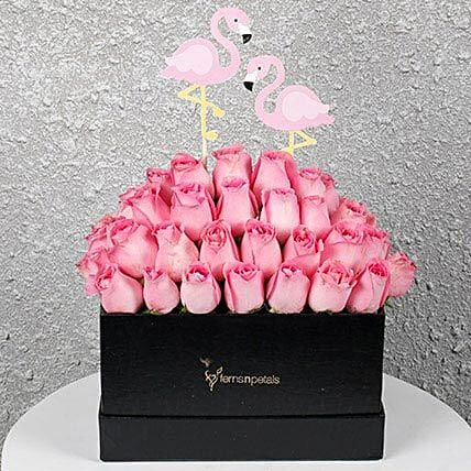 Graceful Pink Roses in a Box: