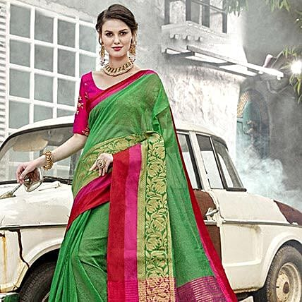 Green Art Silk Saree: Apparel Gifts