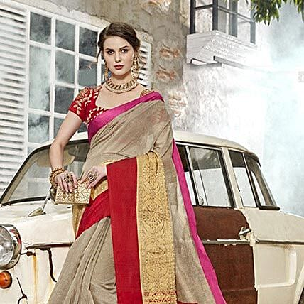 Grey Art Silk Saree: