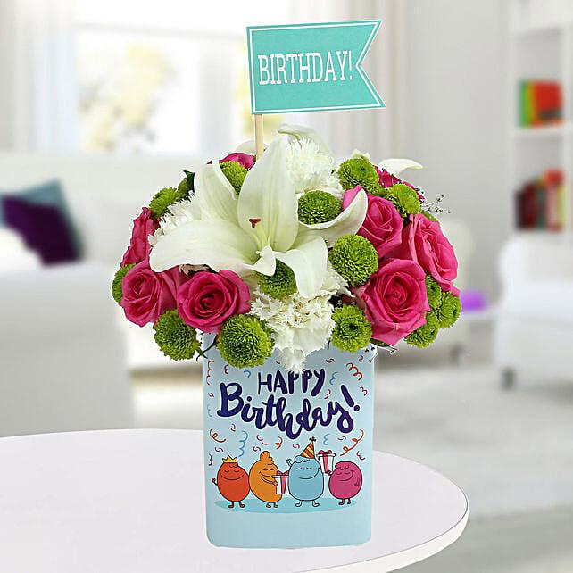 Happy Birthday Mixed Flowers Arrangement: Exotic Flowers