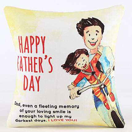 Happy Father's Day Printed Cushion: Gifts For Fathers Day From Daughter