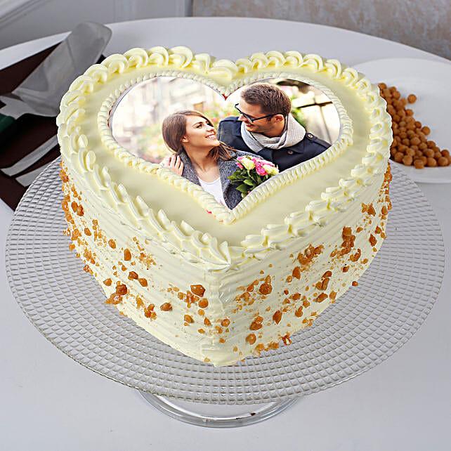 Heart Shaped Butterscotch Photo Cake: birthday cake with photo