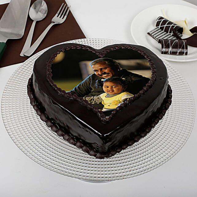 Heart Shaped Chocolate Truffle Photo Cake for Dad: Send Photo Cakes