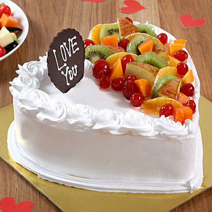 Heart Shaped Vanilla Fruit Cake: Send Heart Shaped Cakes to Dehradun