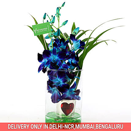 Hearty Orchid Vase Arrangement: Exotic Flowers
