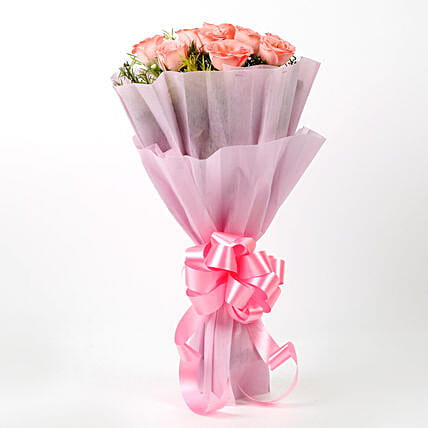 Impressive Pink Roses Bouquet Birthday Gift For Sister