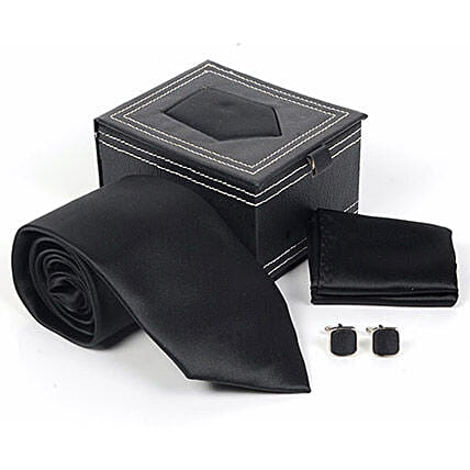 Jet Black Tie Set: Send Ties and Cufflinks