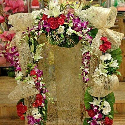 Jute N Exotic Flowers Decoration: Send Orchids