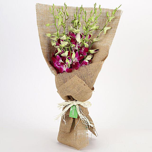 Jute Wrapped 6 Purple Orchids Bunch: Orchids