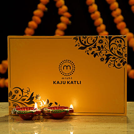Kaju Katli with Diya Combo: Sweets Delivery