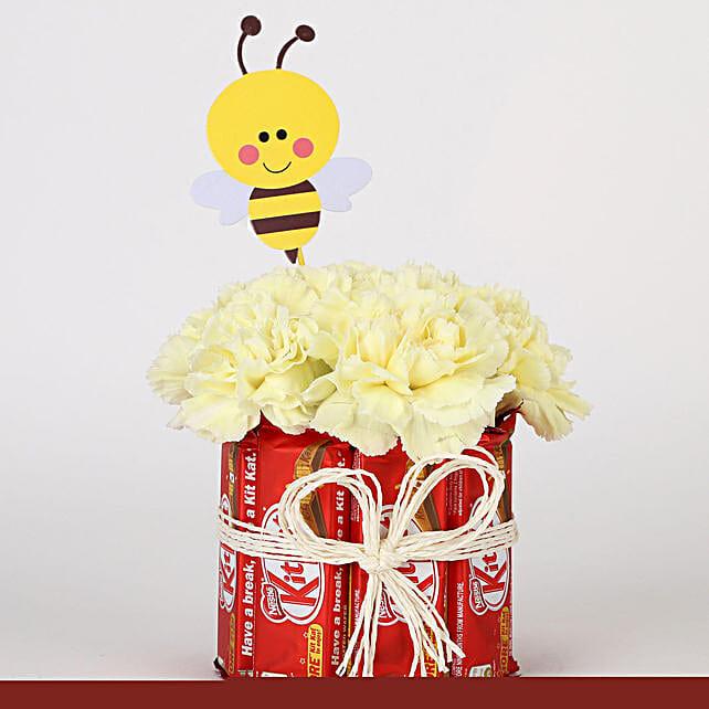 Kit Kat & Carnations Arrangement: Flowers with Chocolates