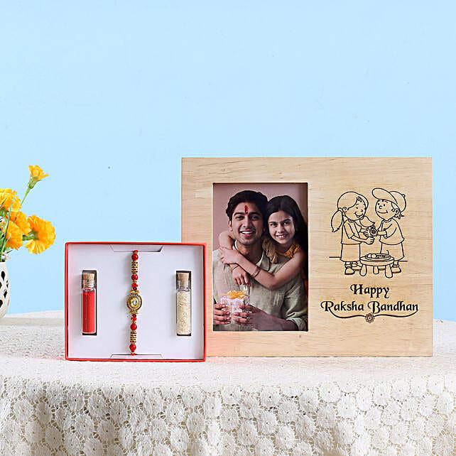 Kundan Rakhi & Wooden Photo Frame Combo: Rakhi With Photo Frames