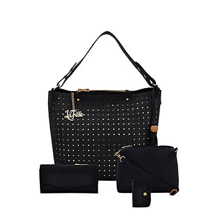 LaFille Designer Black Handbag Set: Buy Handbags