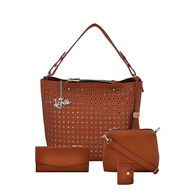 LaFille Designer Tan Handbag Set: Handbag Gifts