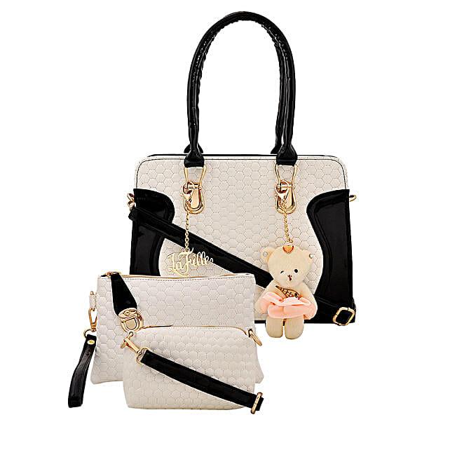 LaFille Teddy Keychain Handbag Set- Black & White: Handbag Gifts