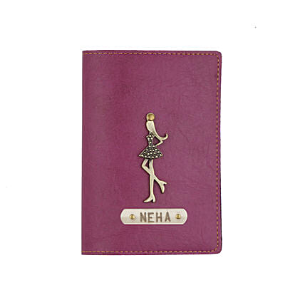 Leather Finish Passport Cover Purple: