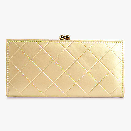 Lino Perros Square Print Golden Women Clutch: Fashion Accessories