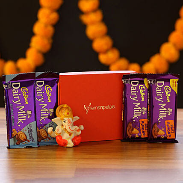 Lord Ganesha Idol & Cadbury Combo: Cadbury Chocolates