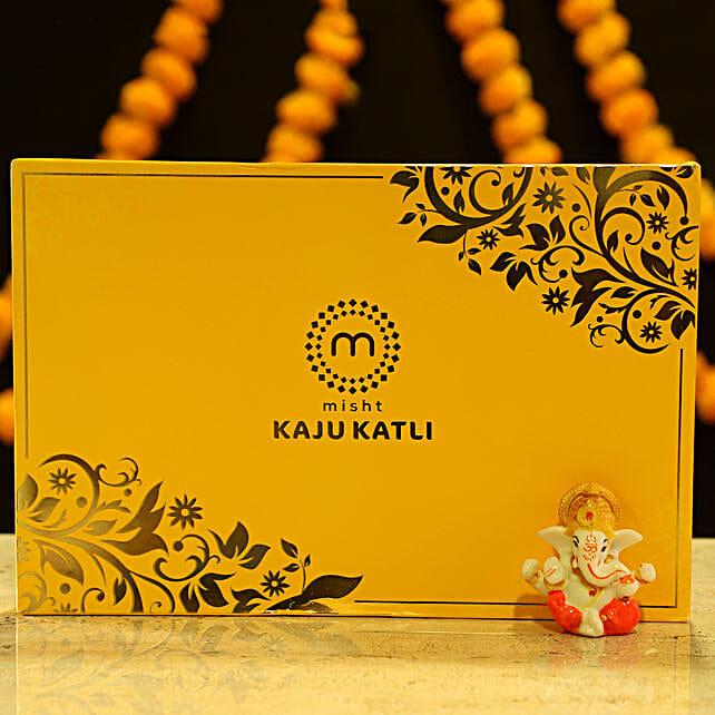 Lord Ganesha Idol & Kaju Katli: Diyas