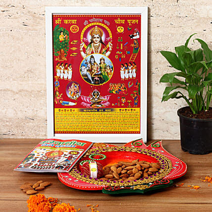 Lotus Shaped Wooden Tray & Almonds Combo: Pooja Thali