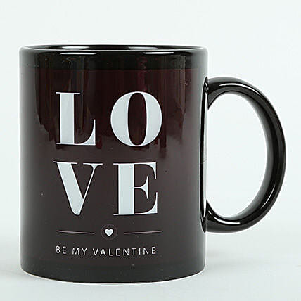 Love Ceramic Black Mug: Send Gifts to Gujarat