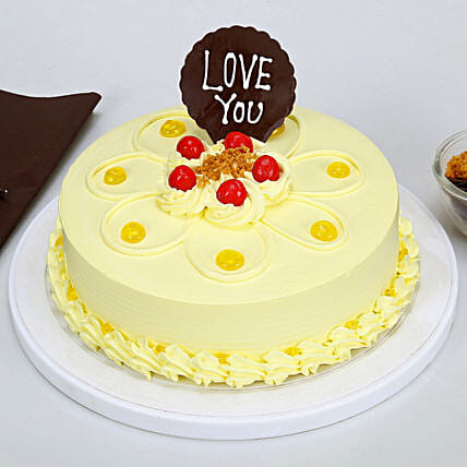 Love You Valentine Butterscotch Cake: Gifts for Hug Day