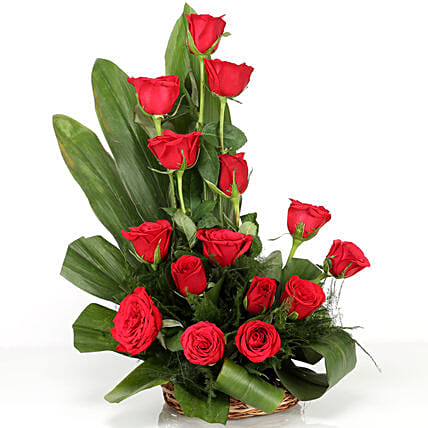 Lovely Red Roses Basket Arrangement: Fresh Flower Arrangement