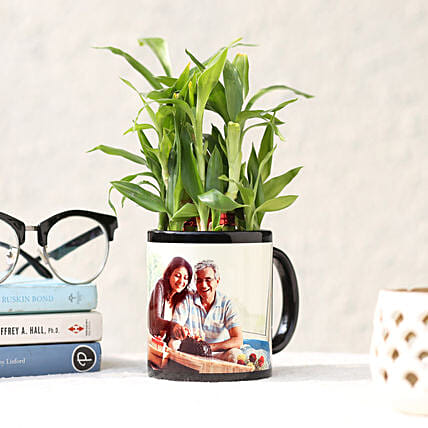 Lucky Bamboo in Personalised Black Mug: Fathers Day Gifts Combo
