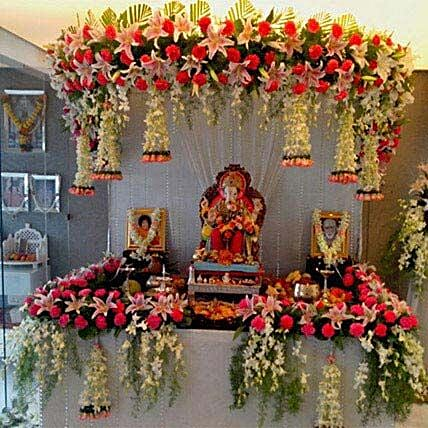 Marvelous Floral Ganpati Decoration: Mixed Colour Flowers