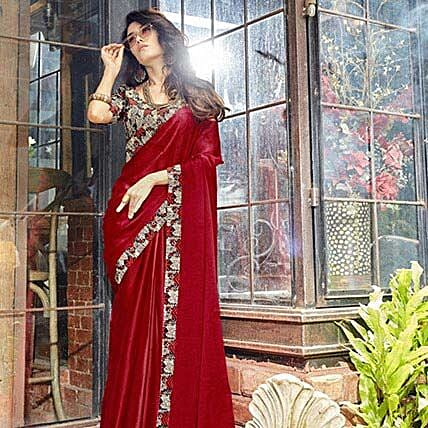 Marvelous Maroon Georgette Saree: Apparel Gifts