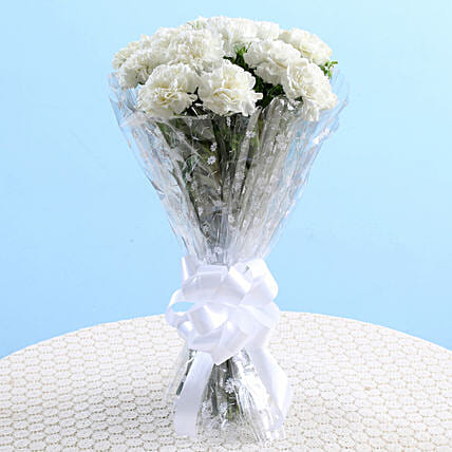 Mesmerizing White Carnations Bouquet: