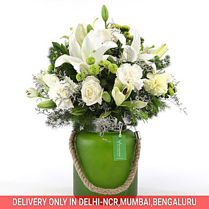 Mixed White Flower Jar: