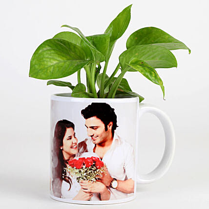 Money Plant In Personalised Mug-White: